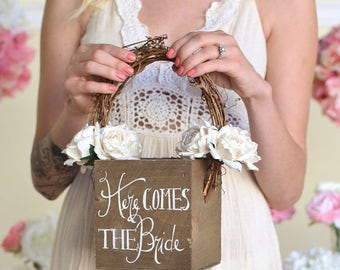 Here Comes The Bride Rustic Flower Girl Basket by Steven and Rae (Item Number MMHDSR10029) Barn Wedding Baby's Breath Paper Roses