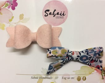 Girls hair bows, 100% wool felt hair bows, hand tied Liberty of London hair bows, baby headbands, hair accessories, gifts for girls