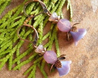 Purple,Raspberry, Pink,Boho, Vintage, Antique Copper, Leaf, Czech Glass Flower,E008, *FREE SHIPPING.