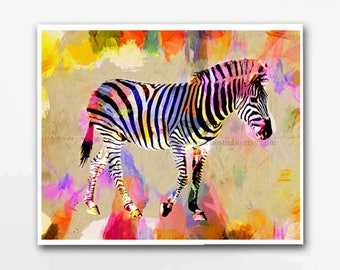 Zebra, Zebra Print, Original Zebra Art, Animal Art, Wild Animal Art, Zebra Wall, Safari Art, Painting Zebra, Zebra Illustration Art, Animals