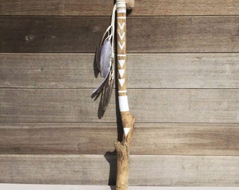 Driftwood hand painted stick / boho / feathers / decoration / boho decor / driftwood / bohemian