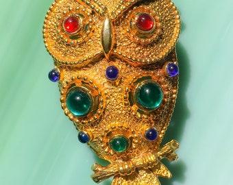 Owl Pin | Owl Brooch | Owl Jewelry | Bird Pin | Bird Brooch | Bird Jewelry | Gift for Her | Rhinestone Jewelry | Vintage Jewelry