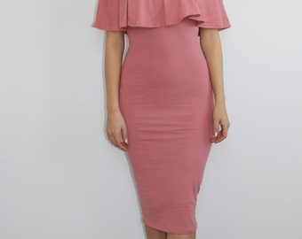 Ruffle Me Up Mauve Midi Dress
