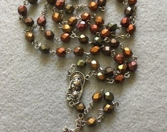 Firepolish Iris Czech Glass Rosary