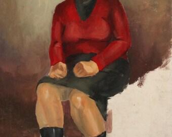 Vintage impressionist woman portrait gouache painting