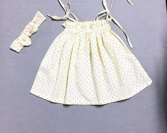 Baby Top and headband Baby Headband  baby girl headwrapYellow Floral Baby Knot Headband  Baby Cotton Headband Birthday Baby Shower Gift