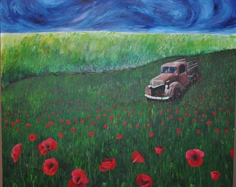 Old Truck in Poppy Meadow Painting