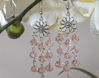 Pink crystal chandelier earrings dangle earrings long earrings crystal earrings