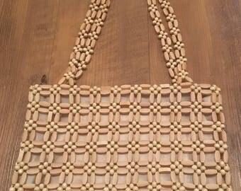 Vintage Wooden Bead Purse