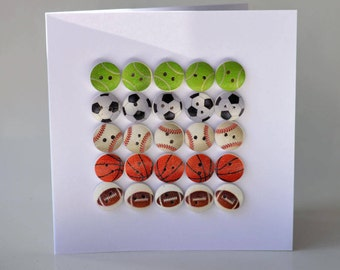 Sport wooden button greeting card with envelope 5x5