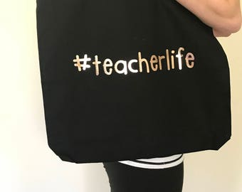 teacherlife canvas tote bag, Teacher Bag, Teacher Tote Bag, Personalized Teacher Gift,Teacher Appreciation,End of School Year gift, rosegold