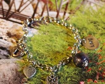 Charm bracelet owl, locket, live