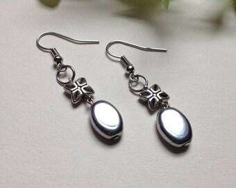 Silver Ornate Boho Flower Dangle Earrings