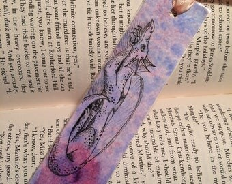 watercolor and ink dragon bookmark