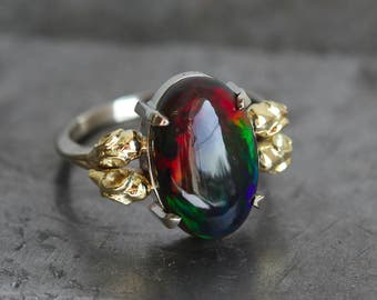 Black Opal Ring, Opal Engagement Ring, Fire Opal Ring, Opal Ring With Bird Skulls, Bird Skull Engagement Ring, Two Tone Engagement Ring