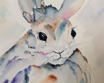 Hare Color // Bunny //Rabbit // Kid's Art// Nursery Art // Watercolor // Painting