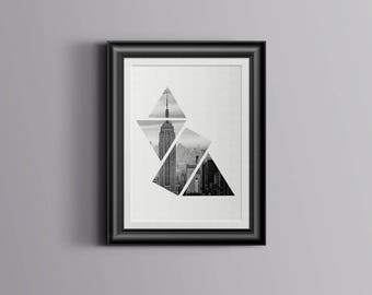 New York Box White Geometric Landscape Print 10x10