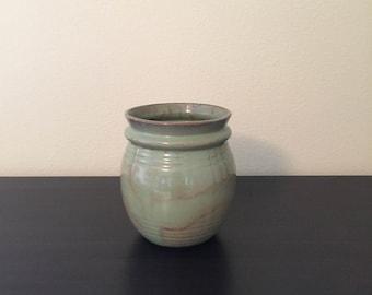 McCoy Vase No. 3106 Green w/Brown Glaze