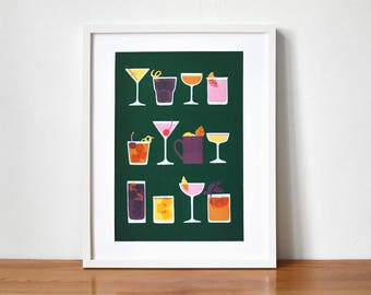 Green Illustrated Drinks / Cocktail Art Print A3