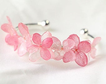 Mori Girl Resin Jewellery Natural Dried Coloured Hydrangea Floral Bracelet Bangle Gift for her
