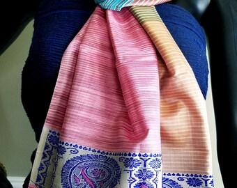 Multi Color Pure Handmade Silk Scarf