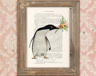 Penguin print, Penguin with flowers, Penguin poster, Penguin illustration, Penguin art, anniversary print, black and white, flower print