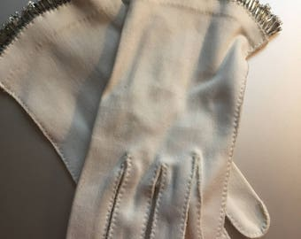 Vintage Fancy White  cotton Gloves with bugle beads