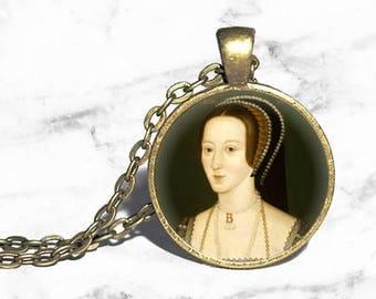Anne Boleyn Necklace, Queen of England, Henry VIII, Tudor Necklace, History Necklace, Portrait Pendant, Tudor Court Jewelry