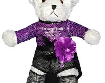 Personalized White Jazz Girl Bear