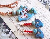 bird jewelry set / dove necklace / porcelain earrings
