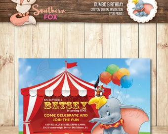 Dumbo Birthday Invitation - Custom Digital Birthday Invitation 4x6 Dumbo and Timothy Birthday Invitation