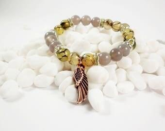 Agate bracelet, woman bracelet, men bracelet, medical bracelet, Agate Stone beads Bracelet, Natural Gemstone Round Beads Stretchy Bracelet