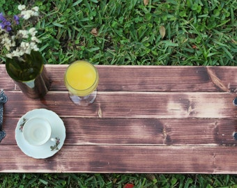 Rustic Distressed Wood Serving Tray