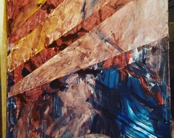 Large wall art, acrylic on canvas, Modern art, Abstract art, original: Dusk Lighthouse - Come Home
