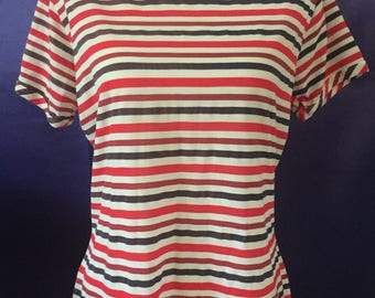 Queens Casual Blouse Stripes Vintage Polyester