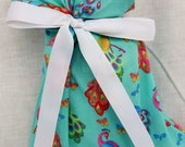 Cloth Gift bag - Peacock Gift Wrap - Reusable Gift Bag, Eco Friendly Gift Bag (small)