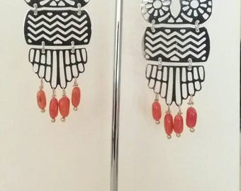 Earrings made of silver and coral cerasuolo