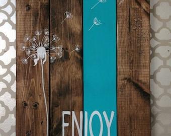Distressed Rustic Pallet Inspired Wood Sign Dandelion Enjoy the Journey