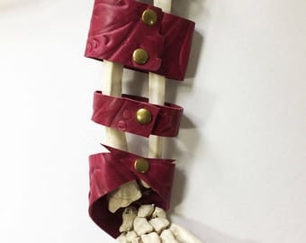 Raspberry Embossed Leather Cuff - Leather Bracelet