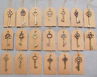 20 Bulk Skeleton Key Charms, Bronze Skeleton Key Wedding Favor, FREE Tags & Twine