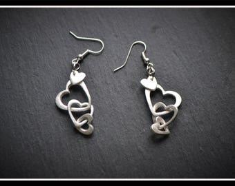 Heart Drop Earrings - Silver Precious Metal Clay (PMC), Handmade, Earrings - (Product Code: ACM038-17)