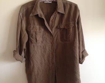Silk blouse shirt 80s 90s grunge classic khaki copper brown S M L
