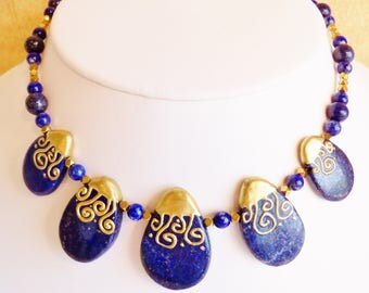 Lapis Necklace, Lapis Lazuli Necklace, Handmade Jewelry, Beaded Necklace, Lapis Bead Necklace, Lapis Jewelry, Pendant Necklace, Blue Lapis