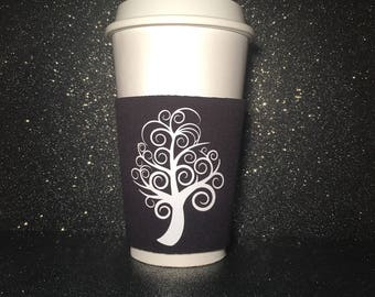 Coffee Sleeve or Cold Drink Sleeve : Personalised with choice of Design and Colour, Personalised Gift - Eco Friendly