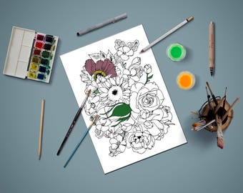 Coloring page for adults, flowers coloring page,adult coloring page,Kids coloring page, PDF printable, Instant Download only,gift for kids