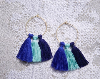 Earrings turquoise and Navy Blue PomPoms