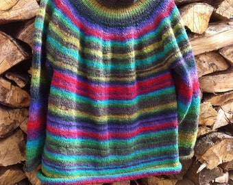 Hand knitted pure wool jumper.