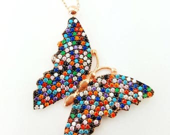 Colourful butterfly necklace, live colour , spring season, lovely gift