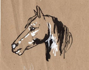 Drawing of a horse with the ink head
