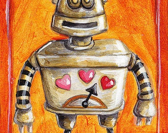 ACEO Print - Vintage Robot with Love Meter, Valentine's Day Robot, Sketch Card Lovebot by Sal Scheibe